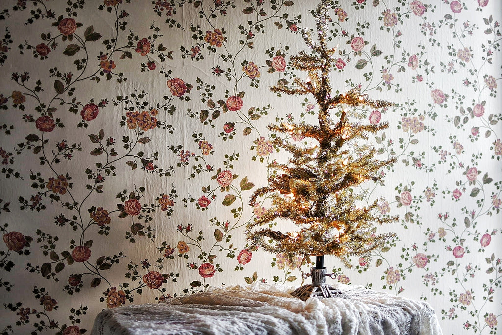 Dusty Gold Tinsel Tree (pre-lit) with Cast Iron Stand