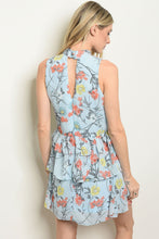 Load image into Gallery viewer, Womens Blue Floral Dress
