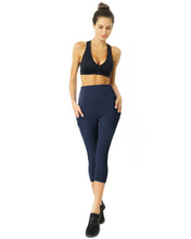 Load image into Gallery viewer, High Waisted Yoga Capri Leggings - Navy Blue
