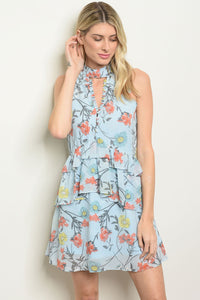 Womens Blue Floral Dress