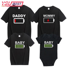 Load image into Gallery viewer, Summer Family Look Shirt Mommy and Me Clothes Love WIFI Battery 2019 Family Matching T Shirt Fashion Family Outfit Set Tees Tops
