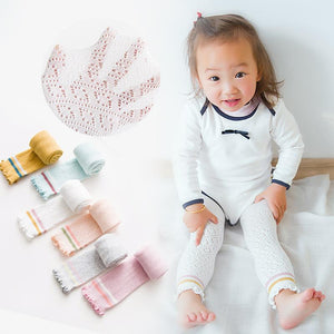 Summer Baby Infant Toddler Shoe Look Tights - Soft Cotton Knit Baby Girls' Pima Breathable Tight Sweet Ruffles Ninth Pants