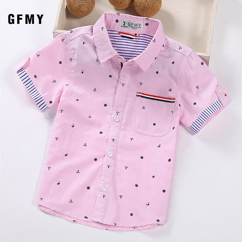 GFMY 2020 Hot Sale Children Shirts Casual Solid Cotton Short-sleeved Boys shirts For 2-14 Years Ribbon Decoration Baby shirts