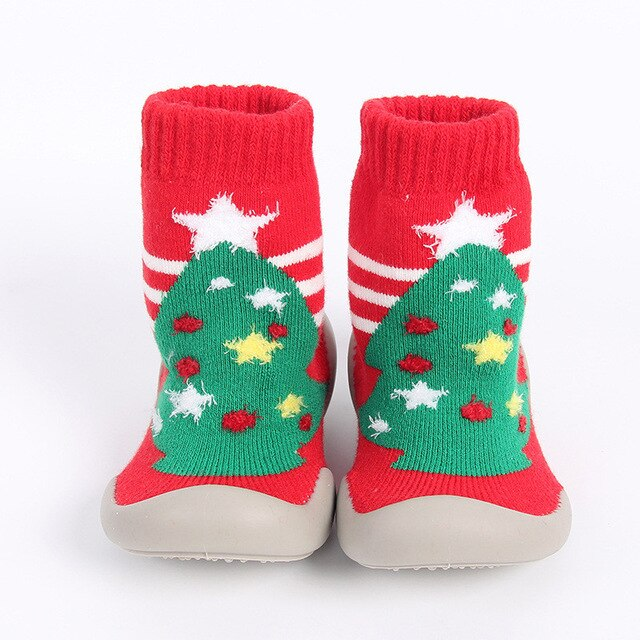 YWHUANSEN 6 to 36M Christmas Children's Indoor Socks With Soft Rubber Sole Baby Walking Shoes Girls Winter Non-slip Floor Socks