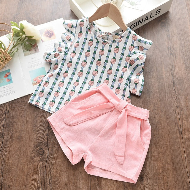 Kids Girls Clothing Sets Summer New Style Brand  Baby Girls Clothes short Sleeve T-Shirt+Pant Dress 2Pcs Children Clothes Suits