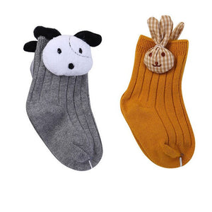 2 Pairs/Lot Toddler Infant Baby Girl Flower Doll Socks Non Skid Cotton Shoe Socks Warm Winter Socks NEW