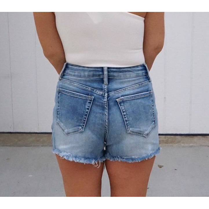 High Rise Ripped Denim Shorts
