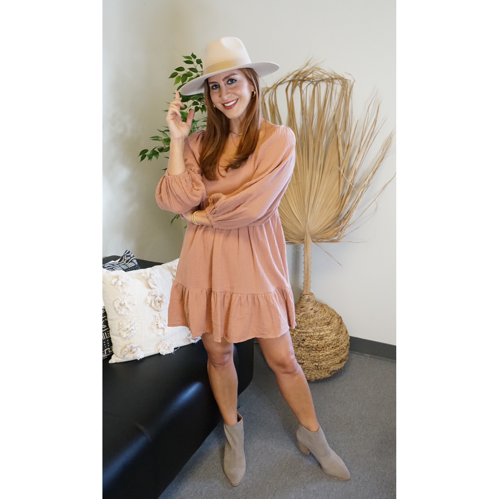 Dusty Rose Gauze Babydoll Dress
