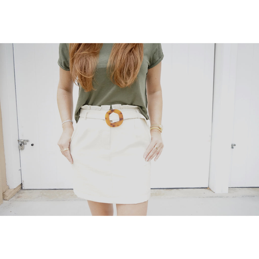 Paper bag Waist Belted Mini Skirt