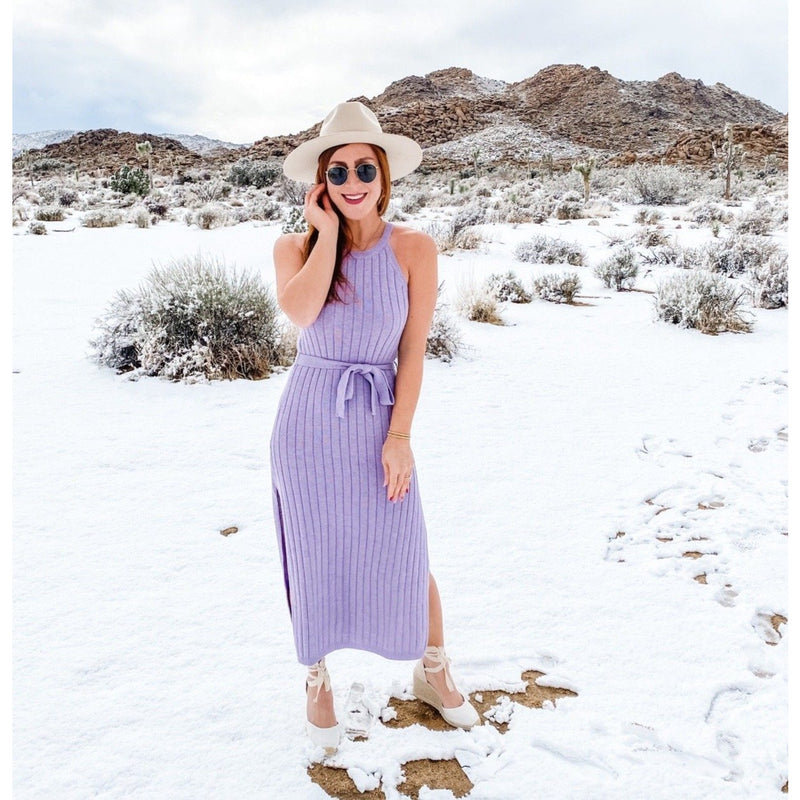 Lavender Knit Tie-Waist Knit Maxi Dress
