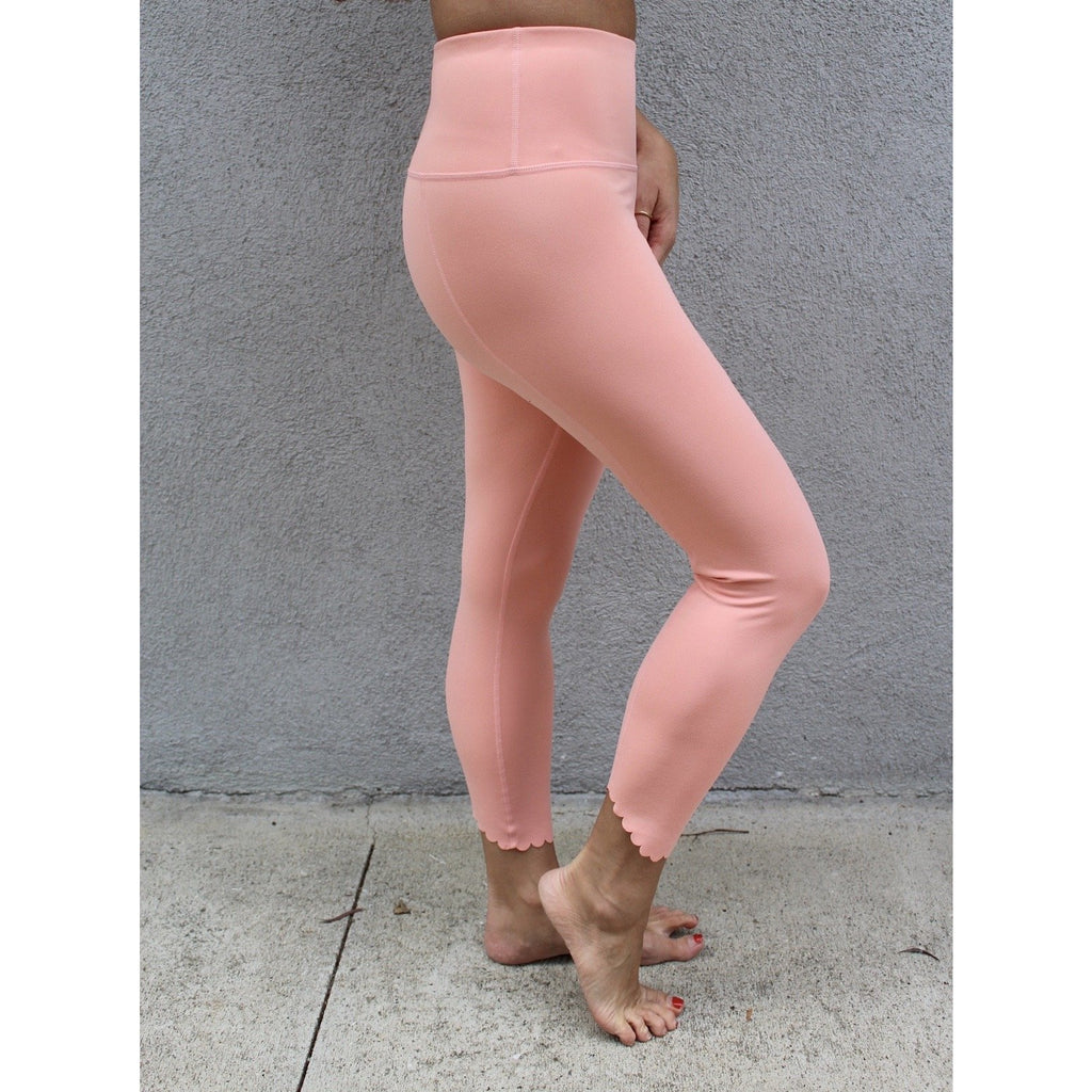 Cantaloupe Scallop Hem Detail Leggings