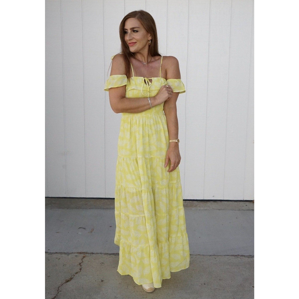 Lemon Yellow Palm Print Maxi Dress