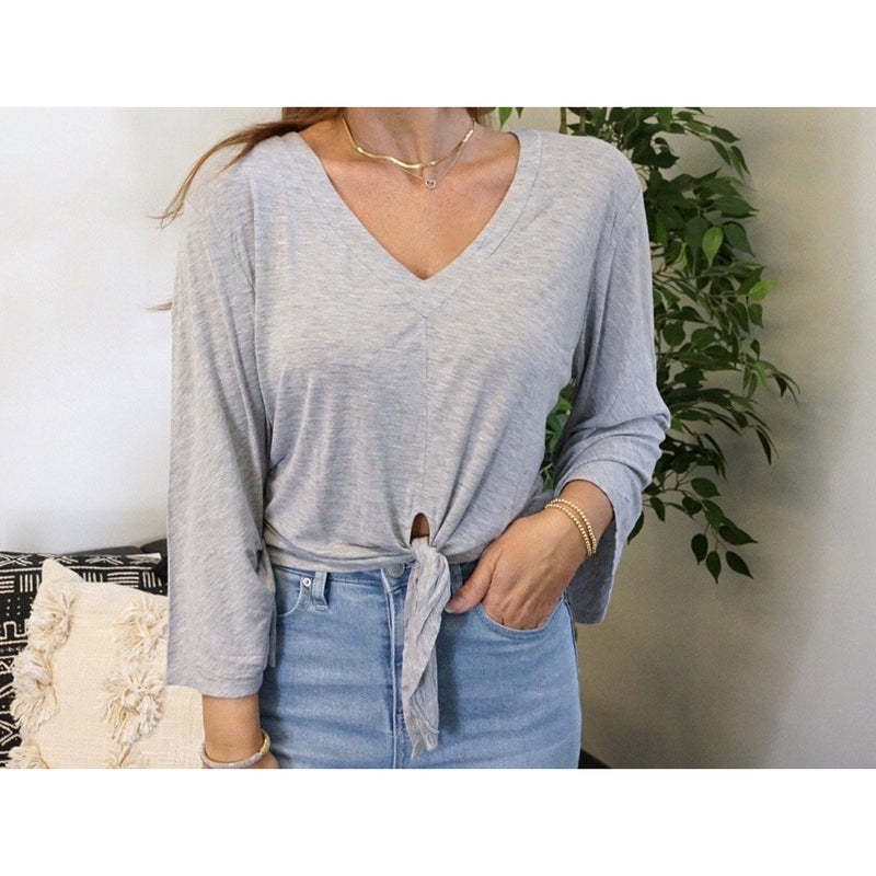 LA Made Long Sleeve Tie Front Top Grey