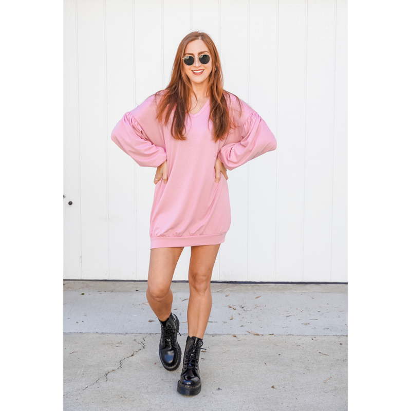 Blush Long Bubble Sleeve Sweatshirt Dress