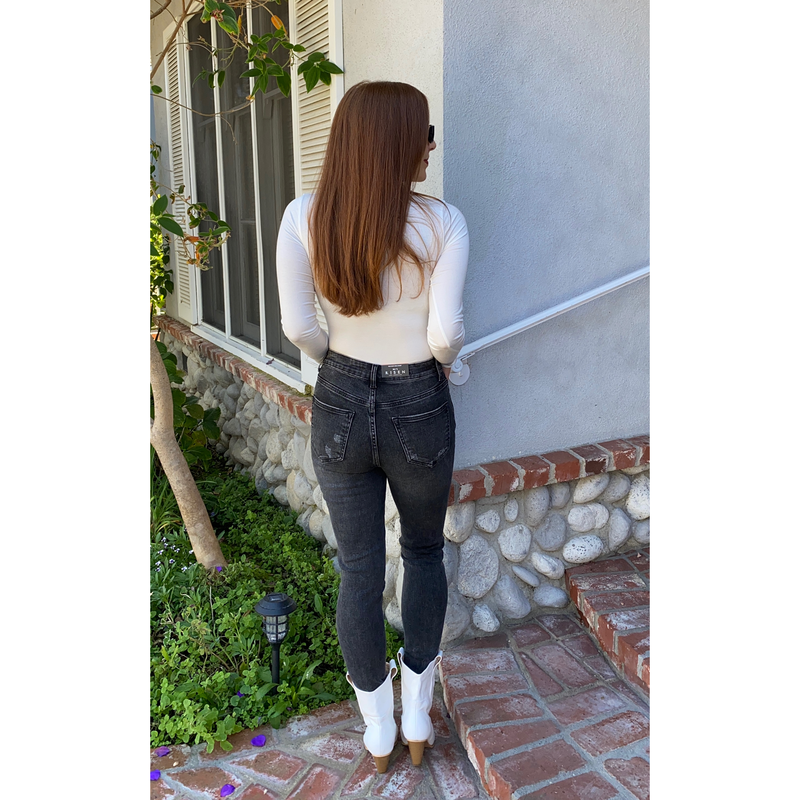 White Basic Long Sleeve Bodysuit