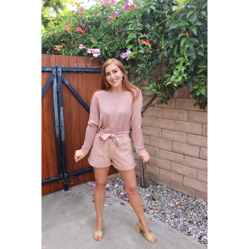 Dusty Pink Paperbag Waist Shorts