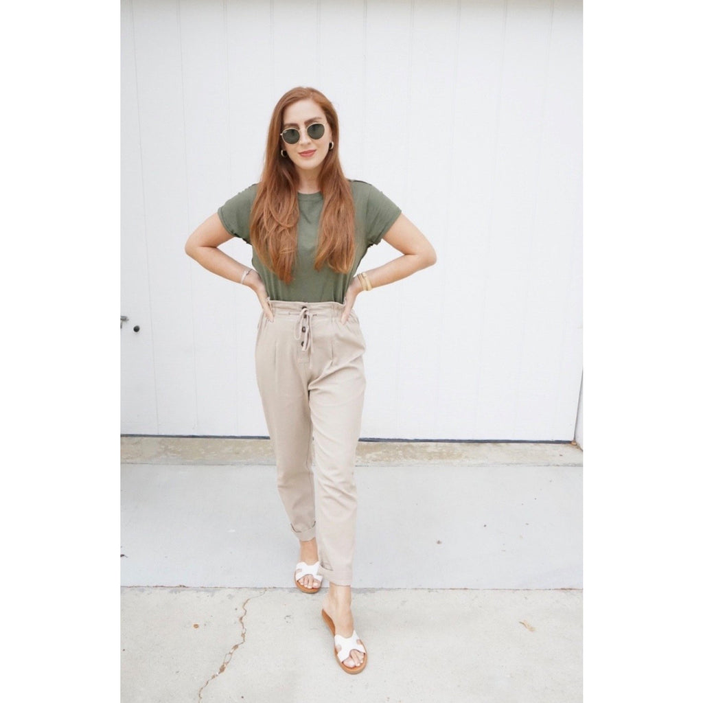 Tan Paperbag Waist Pants