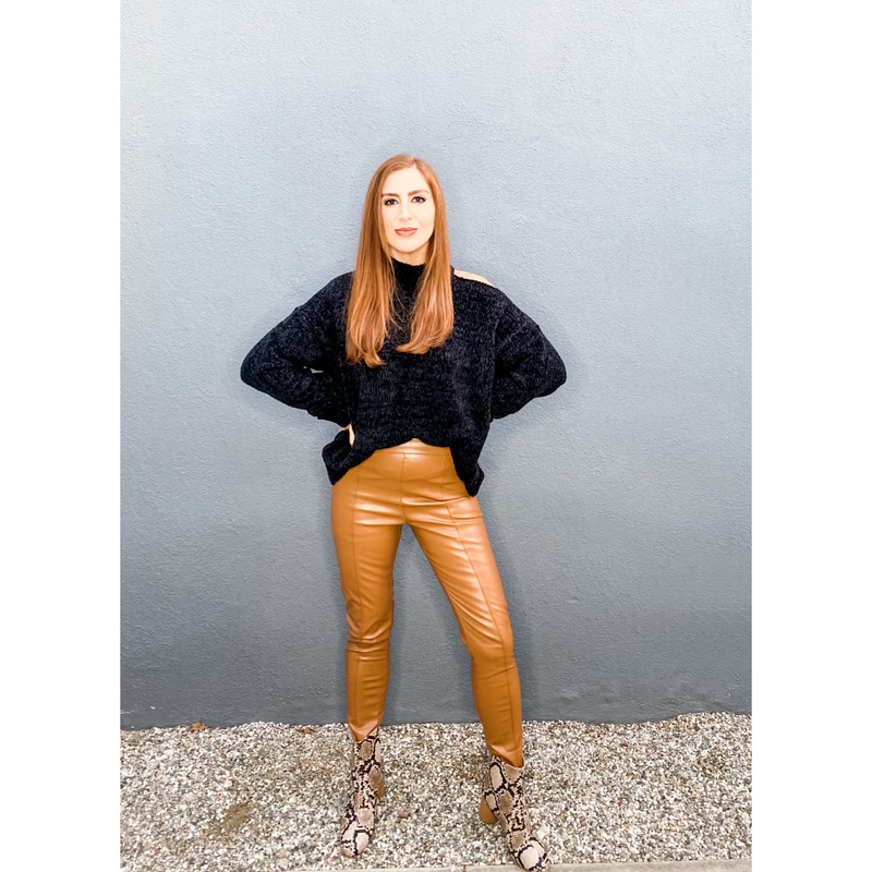 Cognac Faux Leather Split Front Leggings
