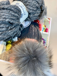 Medium Grey w/ Medium Grey Pom