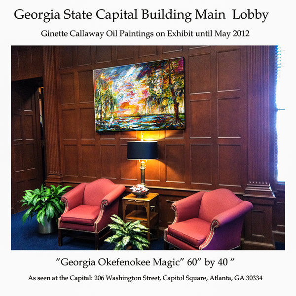 My oil painting Okefenokee magic Displayed at the Georgia State Capital