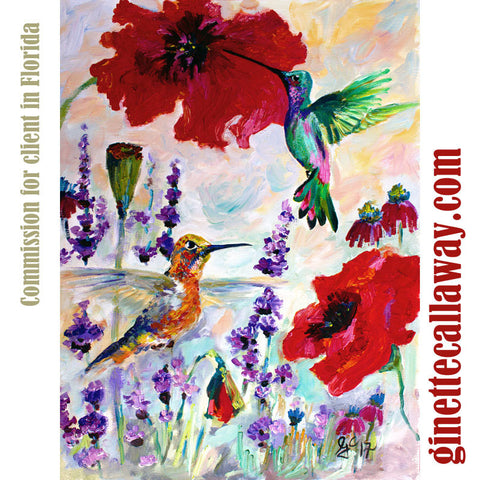 Hummingbirds on Red Poppies and Lavender