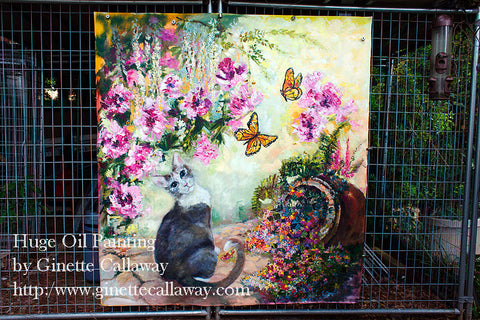 Huge Cat In The Garden Oil Painting by Ginette