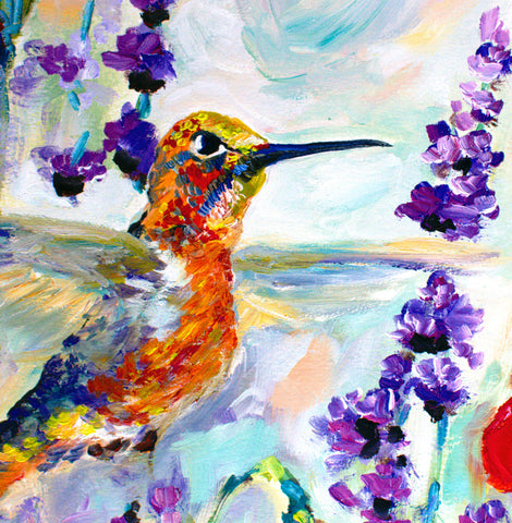 Hummingbirds oil painting detail 2