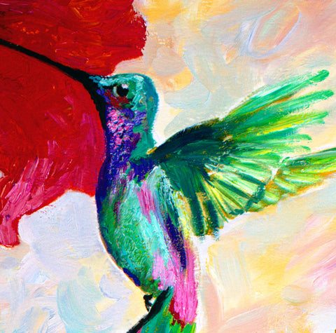 Hummingbirds oil painting detail 1