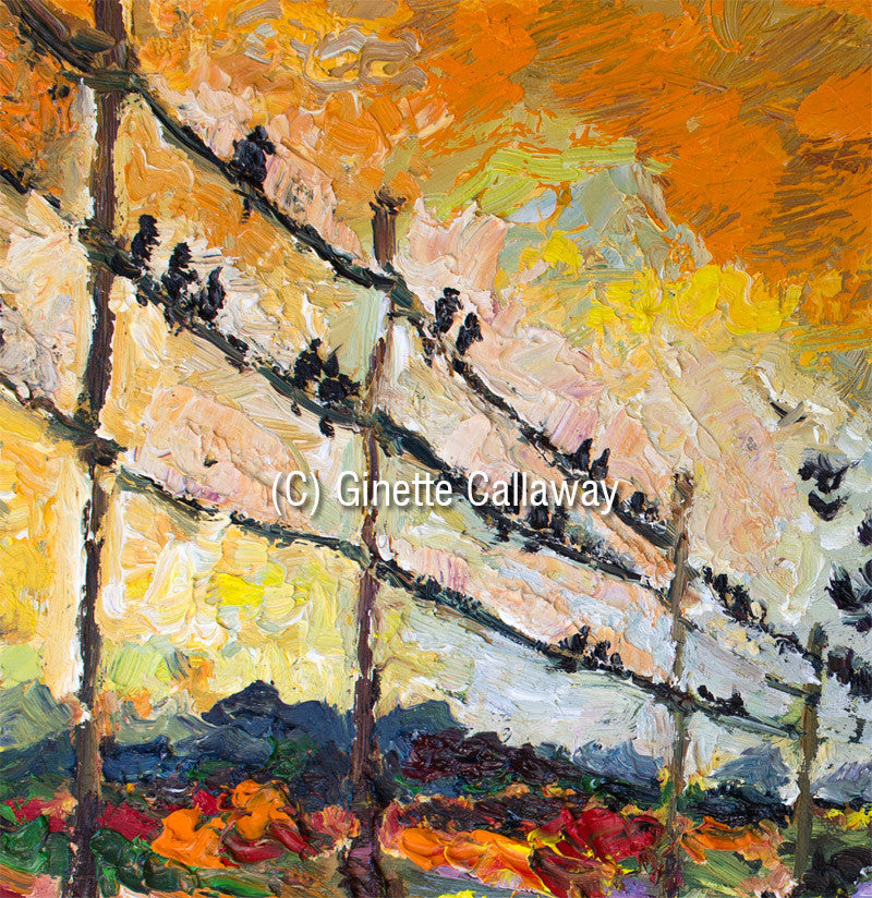 Heading South Autumn Landscape Bird Migration Impressionist Original Oil Painting by Ginette Callaway , Original Painting - Ginette Fine Art, The Art of Ginette Callaway  - 3