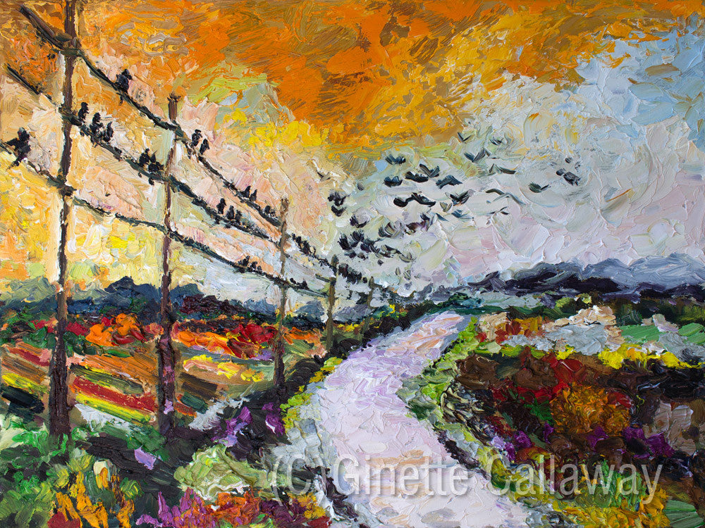 Heading South Autumn Landscape Bird Migration Impressionist Original Oil Painting by Ginette Callaway , Original Painting - Ginette Fine Art, The Art of Ginette Callaway  - 5