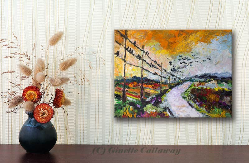 Heading South Autumn Landscape Bird Migration Impressionist Original Oil Painting by Ginette Callaway , Original Painting - Ginette Fine Art, The Art of Ginette Callaway  - 2
