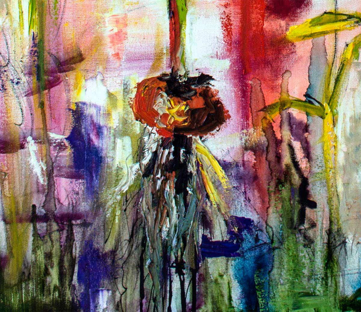 Modern Expressive Black Tulips Ink And Oil On Canvas