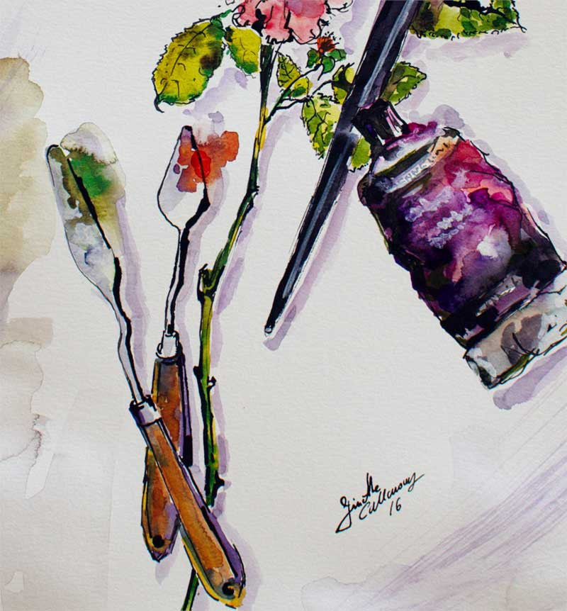 Still Life Roses and Objects Original Watercolor and Ink , Original Painting - Ginette Fine Art, The Art of Ginette Callaway  - 2