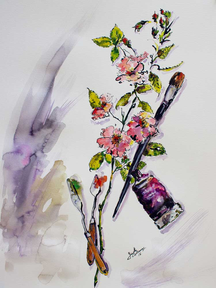 Still Life Roses and Objects Original Watercolor and Ink , Original Painting - Ginette Fine Art, The Art of Ginette Callaway  - 1