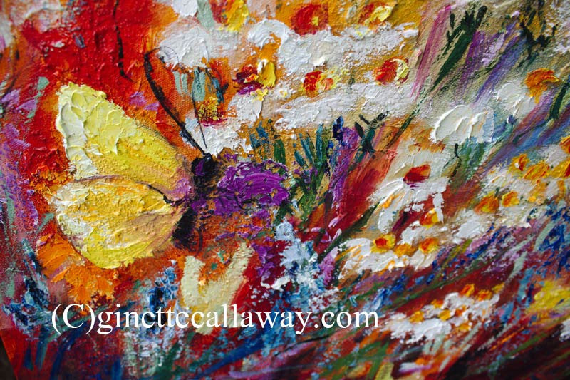 Monarch Butterflies and Chamomile Flowers Impressionist Original Oil Painting by Ginette Callaway , Original Painting - Ginette Fine Art, The Art of Ginette Callaway  - 3
