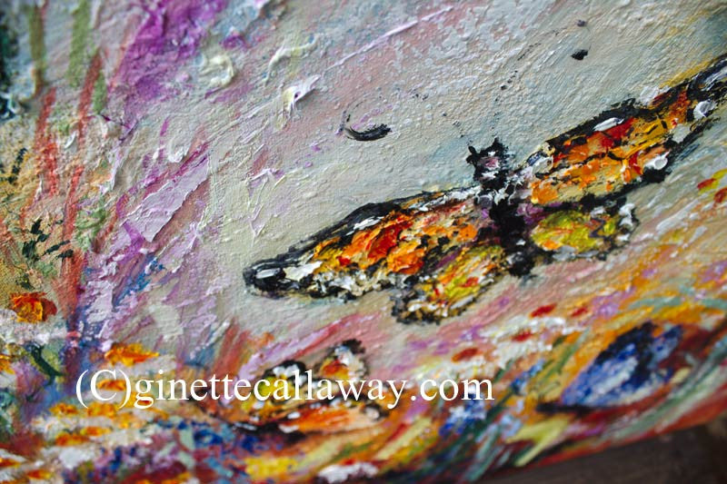 Monarch Butterflies and Chamomile Flowers Impressionist Original Oil Painting by Ginette Callaway , Original Painting - Ginette Fine Art, The Art of Ginette Callaway  - 4
