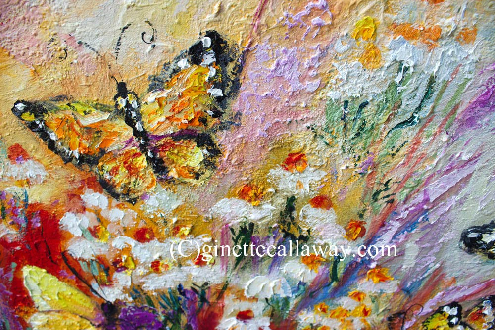 Monarch Butterflies and Chamomile Flowers Impressionist Original Oil Painting by Ginette Callaway , Original Painting - Ginette Fine Art, The Art of Ginette Callaway  - 5