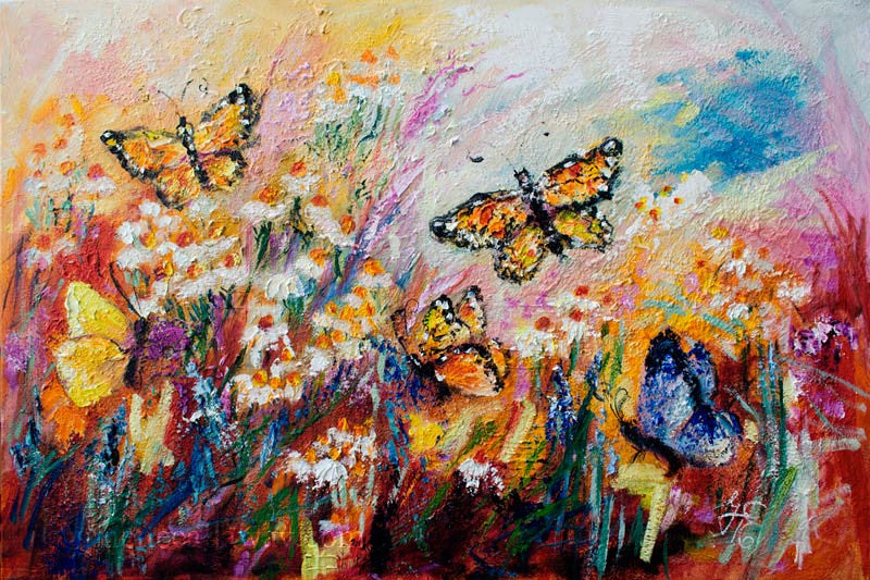 Monarch Butterflies and Chamomile Flowers Impressionist Original Oil Painting by Ginette Callaway , Original Painting - Ginette Fine Art, The Art of Ginette Callaway  - 1