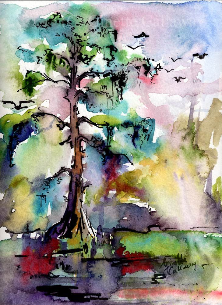 Bald Cypress Trees Watercolor Original Watercolor Painting by Ginette , Original Painting - Ginette Fine Art, The Art of Ginette Callaway  - 1