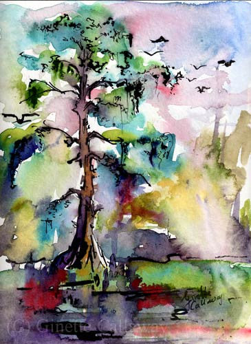 Bald Cypress Trees Watercolor Original Watercolor Painting by Ginette , Original Painting - Ginette Fine Art, The Art of Ginette Callaway  - 2