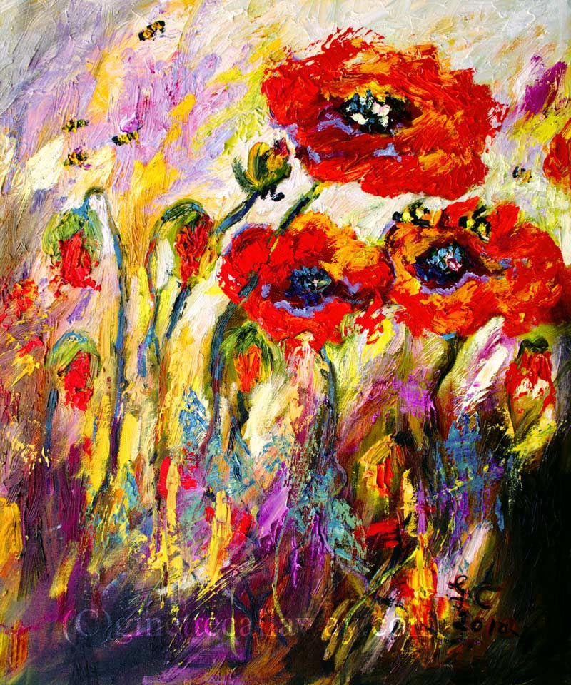Poppies And Bees Provence Impressionist Original Oil Painting