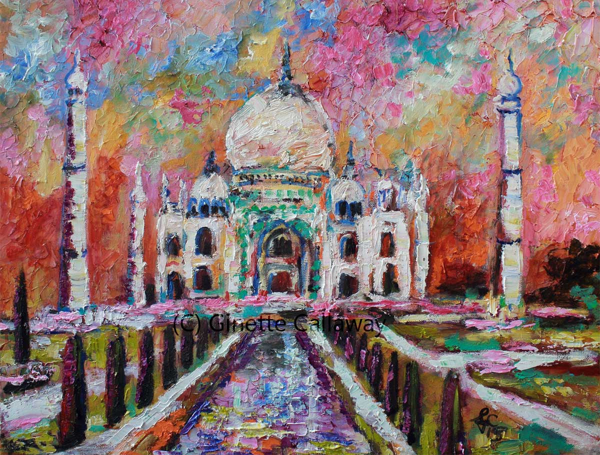 Taj Mahal India Beautiful Temple Oil Painting