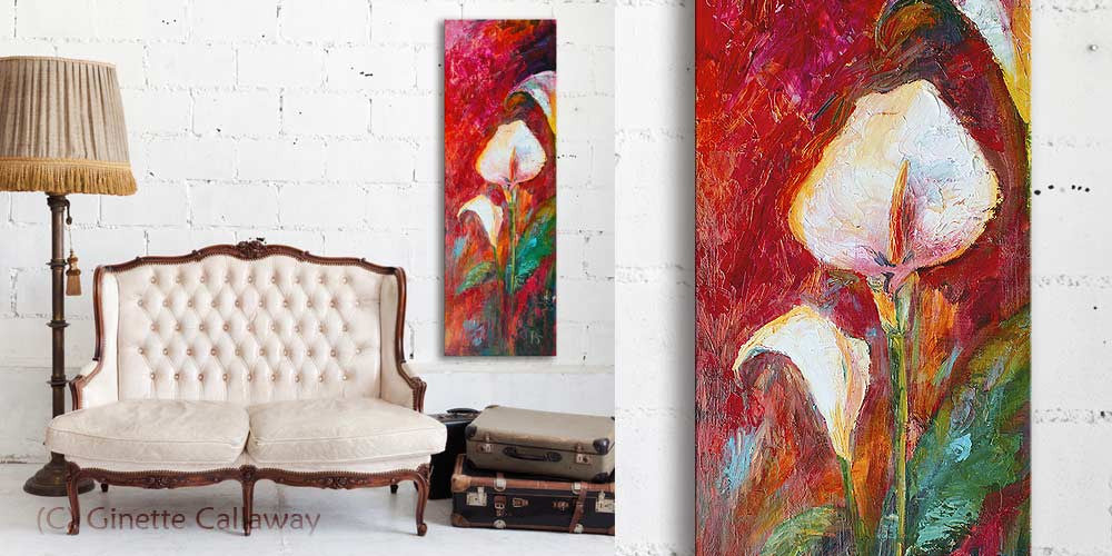 Calla Lilies Large Floral Oil Painting Palette Knife Varnished with Lavender Damar , Original Painting - The Art of Ginette Callaway, The Art of Ginette Callaway  - 5