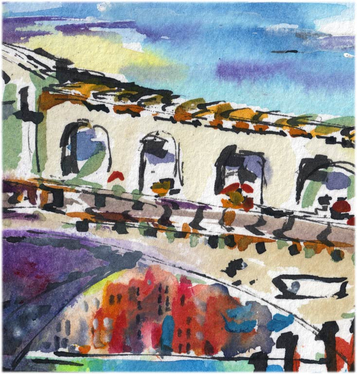 SOLD Venice Italy Rialto Bridge Small Watercolor Painting , Watercolor and Ink - Ginette Fine Art, The Art of Ginette Callaway  - 3