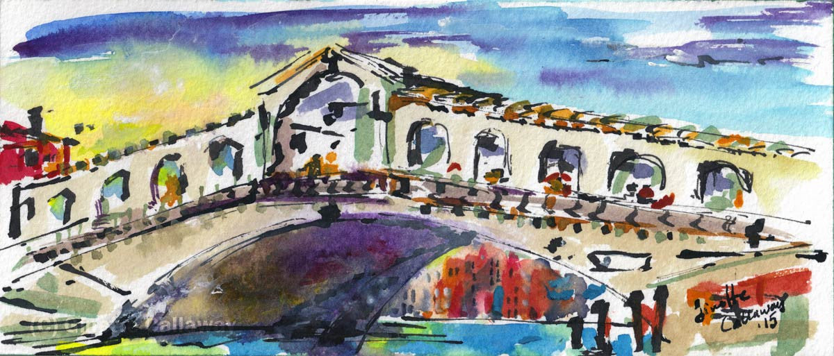 SOLD Venice Italy Rialto Bridge Small Watercolor Painting , Watercolor and Ink - Ginette Fine Art, The Art of Ginette Callaway  - 1