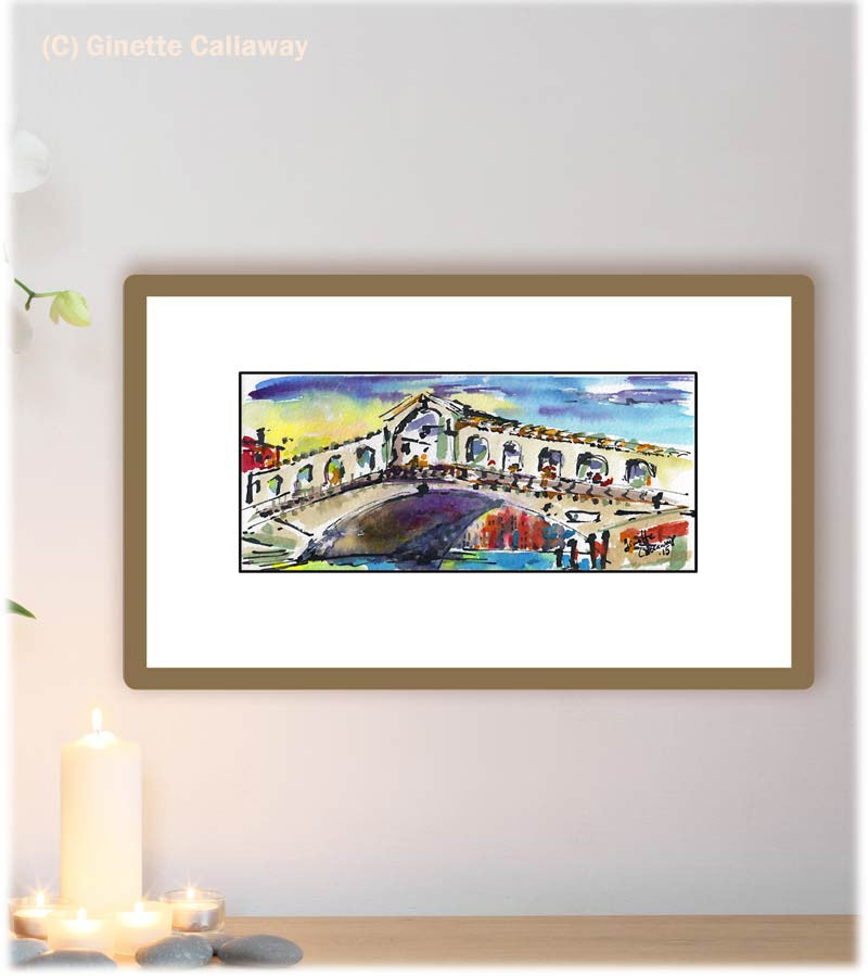 SOLD Venice Italy Rialto Bridge Small Watercolor Painting , Watercolor and Ink - Ginette Fine Art, The Art of Ginette Callaway  - 2