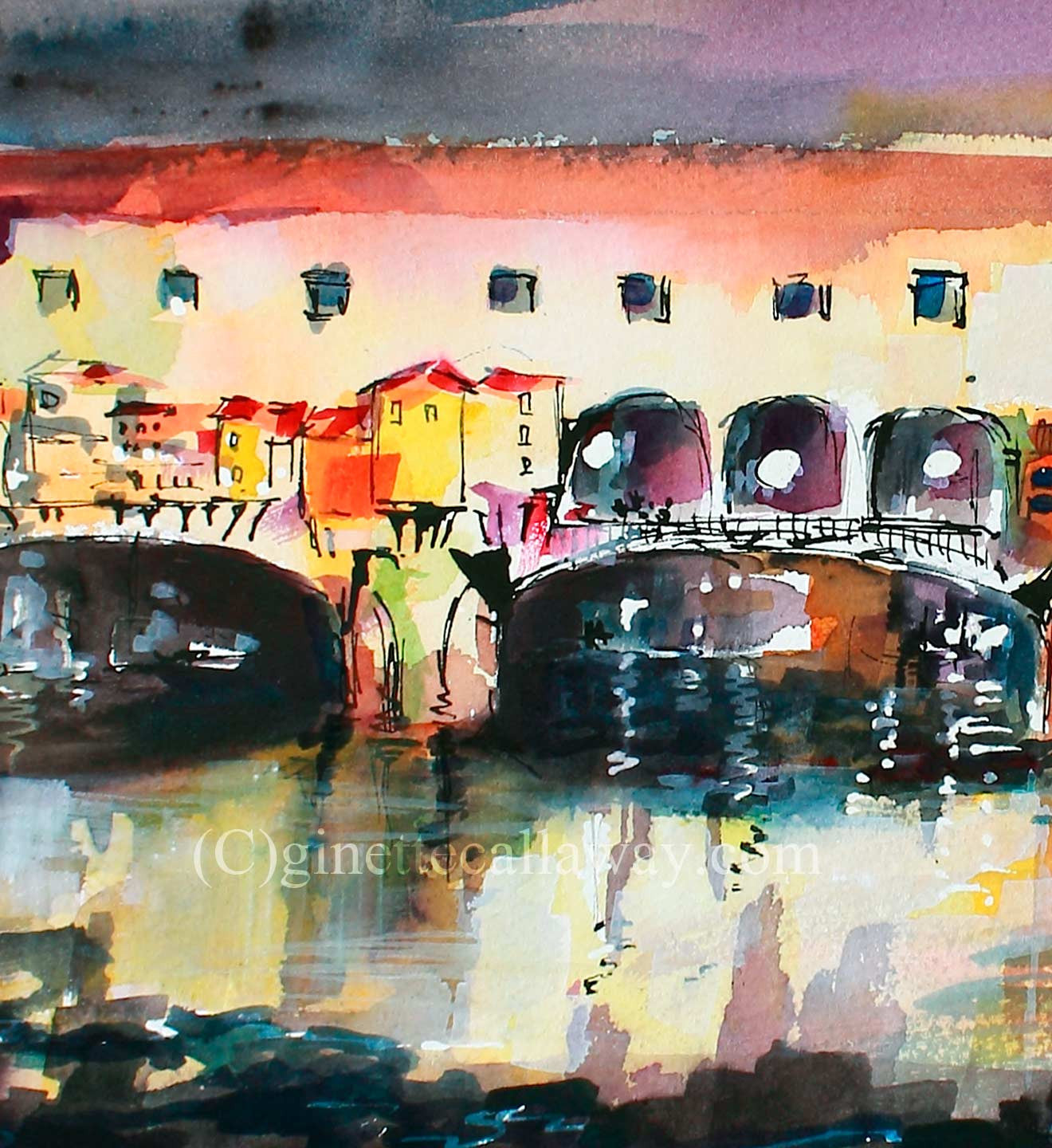 SOLD Florence Italy Ponte Vecchio Watercolor Italy Travel Memories , Watercolor and Ink - Ginette Fine Art, The Art of Ginette Callaway  - 3