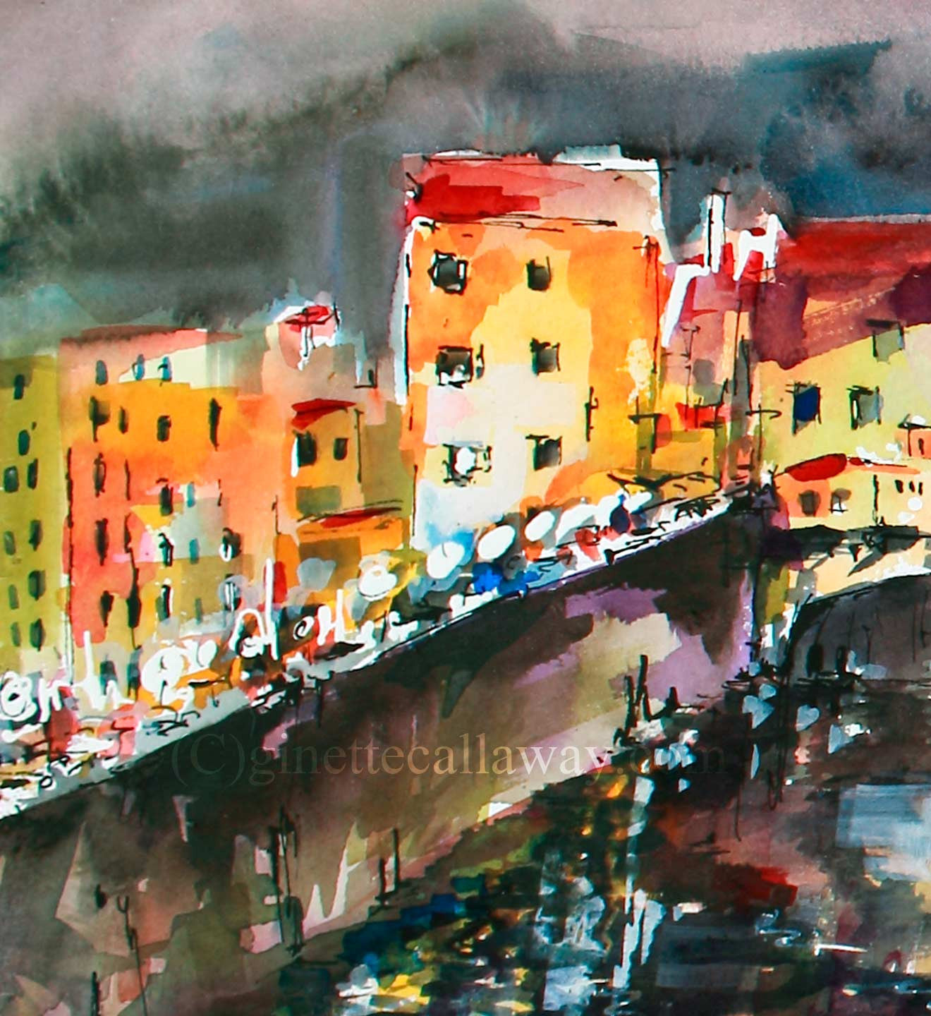 SOLD Florence Italy Ponte Vecchio Watercolor Italy Travel Memories , Watercolor and Ink - Ginette Fine Art, The Art of Ginette Callaway  - 4