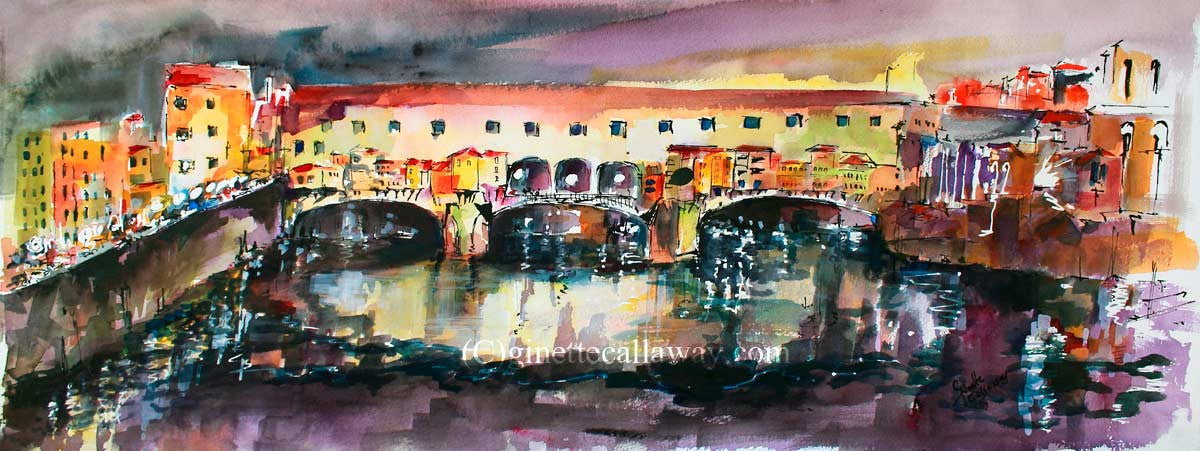 SOLD Florence Italy Ponte Vecchio Watercolor Italy Travel Memories , Watercolor and Ink - Ginette Fine Art, The Art of Ginette Callaway  - 1