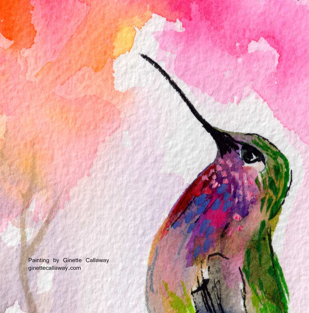 Sweet Hummingbird and Pink Sky Original Watercolor and Ink , Original Painting - Ginette Fine Art, The Art of Ginette Callaway  - 2